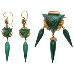 Yellow Gold and Malachite Demi-Parure, circa 1920