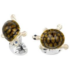 Deakin & Francis Sterling Silver Walking Tortoise Cufflinks