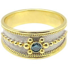 Georgios Collections 18 Karat Yellow Gold Byzantine Ring with Blue Diamond