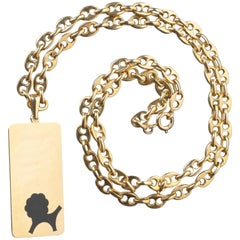 Gold Boucheron Leo Zodiac Pendant and Chain