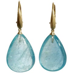 Dalben Design Drop Aquamarine Yellow Gold Dangle Earrings
