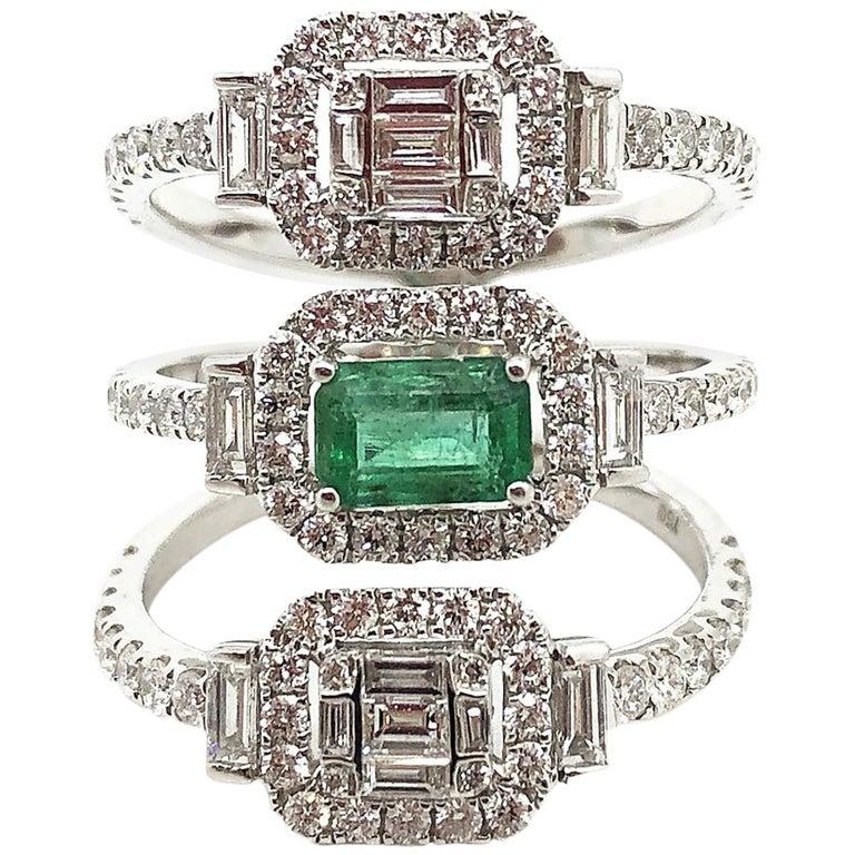 18K Karat White Gold Gilin Emerald and Diamond Ring in 18 Karat White Gold