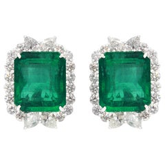 Emerald and Diamond Earrings in 18 Karat White Gold