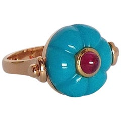 Gemstone Ruby Turquoise Gold Roman Style Reversible Ring