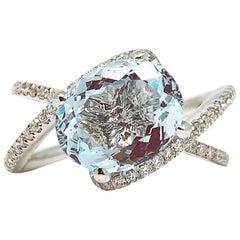Gilin Aquamarine and Diamond Engagement Ring