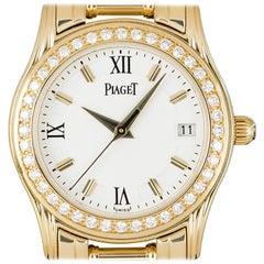 Piaget Ladies Yellow Gold Diamond Set White Dial Polo Quartz Wristwatch