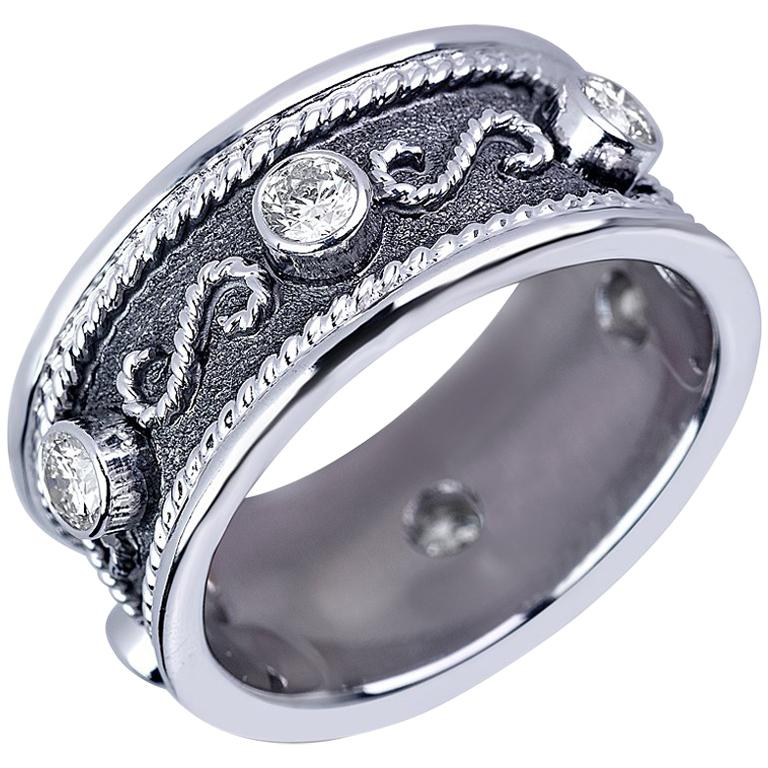 Georgios Collections 18 Karat White Gold Diamond Band Ring with Black Rhodium For Sale