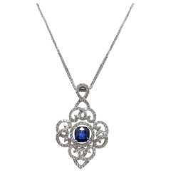 Gilin No Heat Blue Sapphire Diamond Pendant