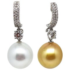 18 Karat White Gold Gilin Southsea Pearl Diamond Earrings