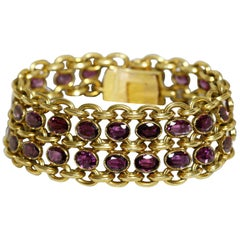 Antique French 19th Century 18 Karat Gold and Garnets Bracelet