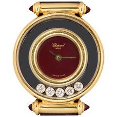 Chopard Happy Diamonds Ladies Yellow Gold Maroon Dial 20/4780-21 Quartz Watch