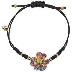 Sicis Printemps Mon Amour Bracelet Gold White Diamonds Sapphires Micromosaic