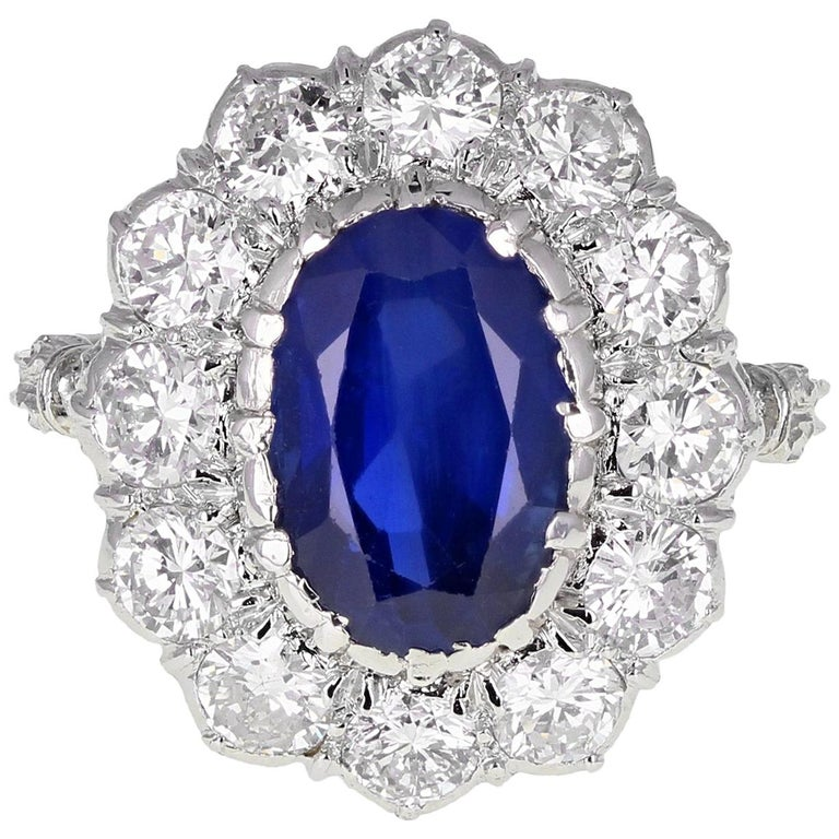 1950s Buccellati Unheated Burma Sapphire Diamond Cluster Engagement Ring