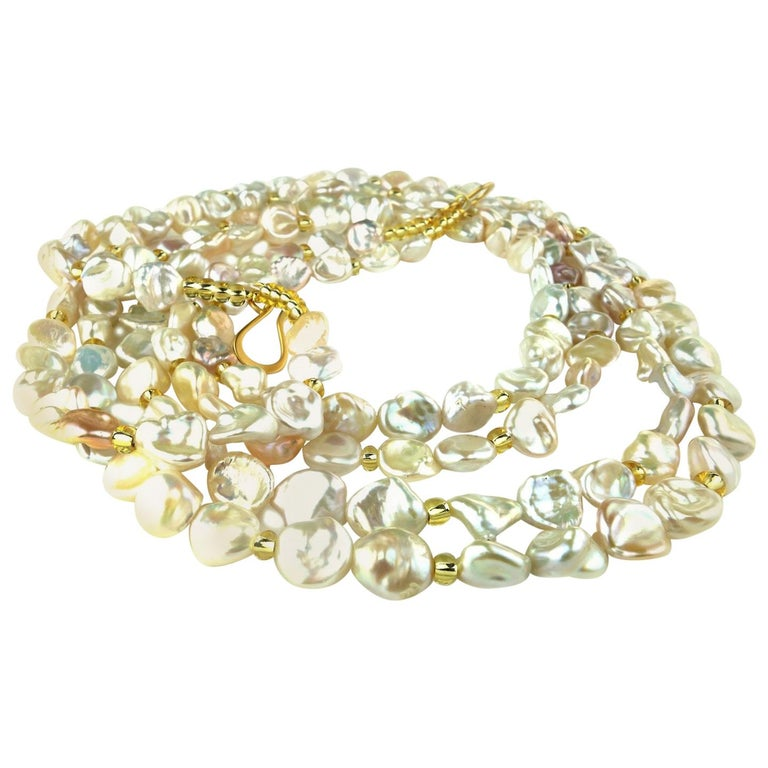 Two Strand Iridescent Pearl Necklace
