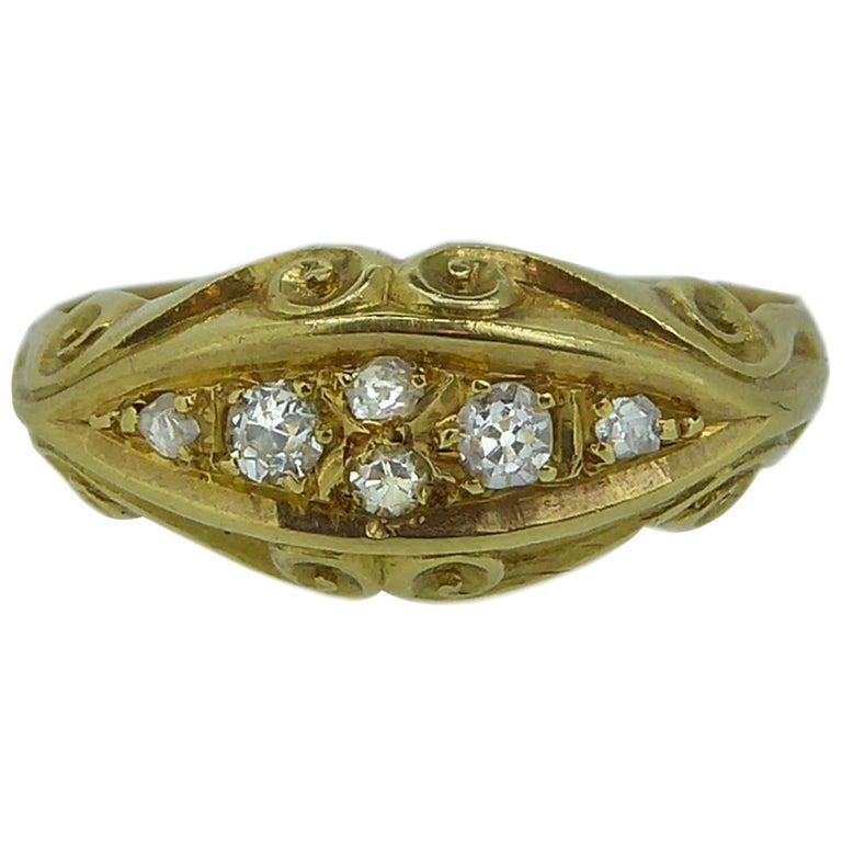 Antique Edwardian Diamond Ring, Scroll Carved Gallery, 18 Carat Gold Birmingham