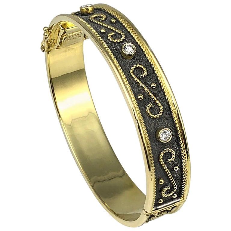Georgios Collections 18 Karat Yellow Gold Byzantine Style Bracelet with Diamonds