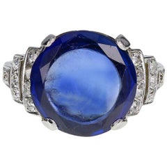 Art Deco Fancy Cut 6.21 Carat Unheated Ceylon Sapphire Diamond Platinum Ring