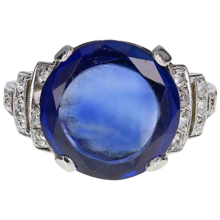 Art Deco Fancy Cut 6.21 Carat Unheated Ceylon Sapphire Diamond Platinum Ring