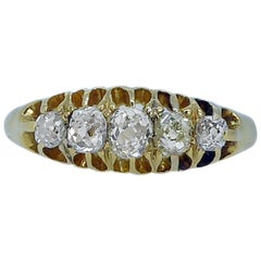 Antique Old Cut Diamond Ring, Navette Setting 18 Carat Hallmarked London, 1914