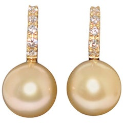 South Sea Pearl and White Diamonds on Yellow Gold 18 Karat Drop Earrings