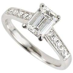 GIA Certified Emerald Cut Diamond Engagement Ring 1.01 Carat