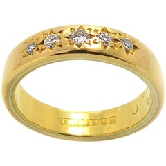 Antique Gold Wedding Band Set with Five Old Cut Diamonds, 22 Carat Gold, 1914