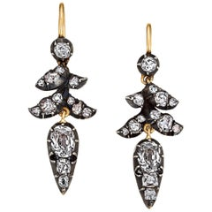 Victorian Diamond Gold Silver Drop Earrings