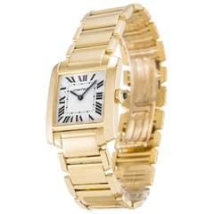 Cartier 18 Karat Gold Tank Francaise Midsize Quartz Wristwatch Ref W50003N2