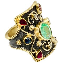 Georgios Collections 18 Karat Gold Diamond Emerald Ruby Byzantine Style Ring