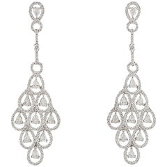 Diamond Chandelier Motif Diamond Drop Earrings 7.30 Carat