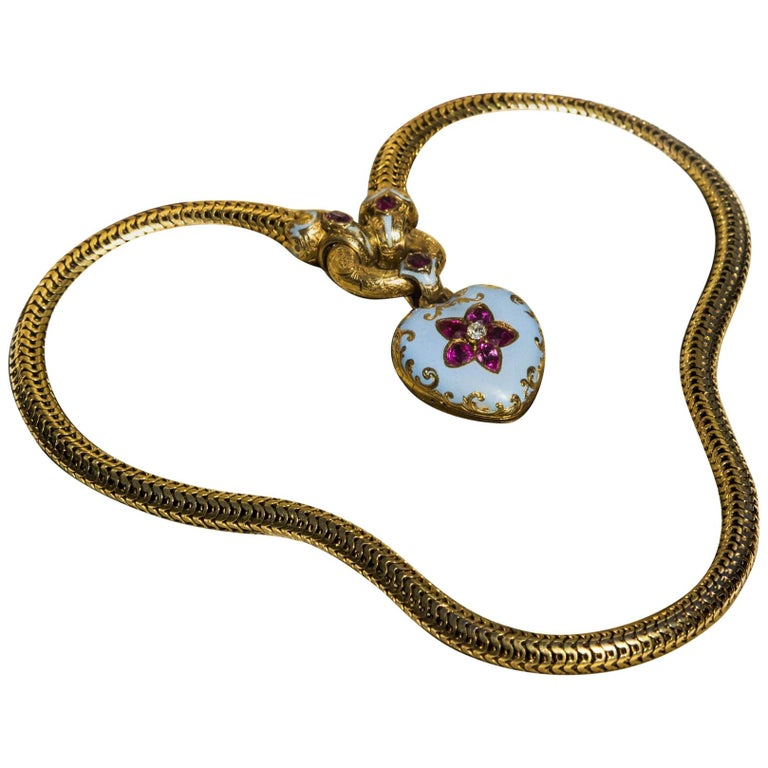 Ruby Diamond and Enamel Heart Necklace