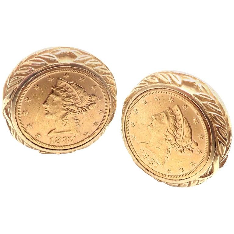 David Webb Liberty Coin Large Yellow Gold Cufflinks