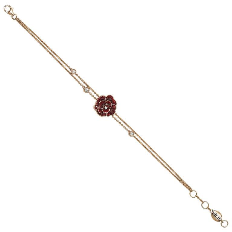 Sicis Rose Chain Bracelet Rose Gold White Diamonds Micromosaic