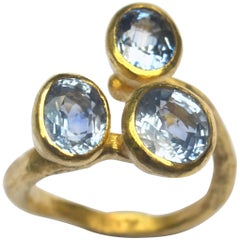 Triple Blue Sapphire 18 Karat Gold Open Ring Handmade by Disa Allsopp