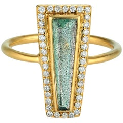 Theresa Kaz Jewelry Labradorite & Diamond Halo Elongated Tapered Baguette Ring