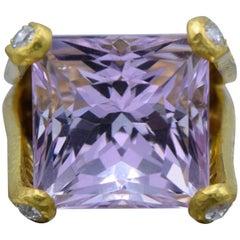 Elizabeth Locke, Kunzite, Diamond and 19 Karat Gold Ring