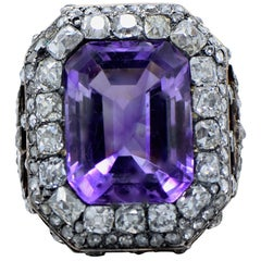 Very Beautiful Antique Diamond, Amethyst, Gold and Silver Ring