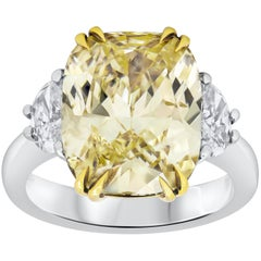 GIA Certified Light Yellow Cushion Cut Diamond Three-Stone Engagement Ring