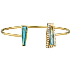 Theresa Kaz London Blue Topaz Labradorite & Diamond Halo Tapered Baguette Cuff