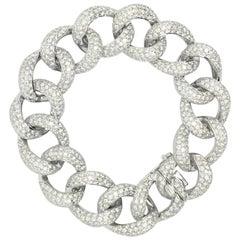 Diamond Link 18 Karat White Gold Bracelet