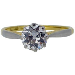 0.80 Carat Old Cut Diamond Engagement Ring, Platinum and Gold Band, circa 1930s