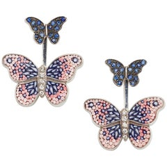 Sicis Butterfly Earrings White Gold White Diamonds Blue Sapphires Micromosaic