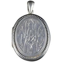 Antique Victorian Silver Locket Engraved, circa 1900