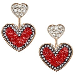 Sicis Heart Earrings Rose Gold White Diamonds Micromosaic