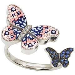 Sicis Butterfly Ring White Gold White Diamonds Blues Sapphires Micromosaic