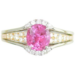 Frederic Sage 1.93 Carat Pink Sapphire and White Diamond One of a Kind Ring