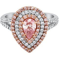 GIA Certified Pear Shape Pink Diamond Halo Engagement Ring