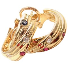 Cartier Diamond Ruby Sapphire Trinity Yellow Gold Hoop Earrings