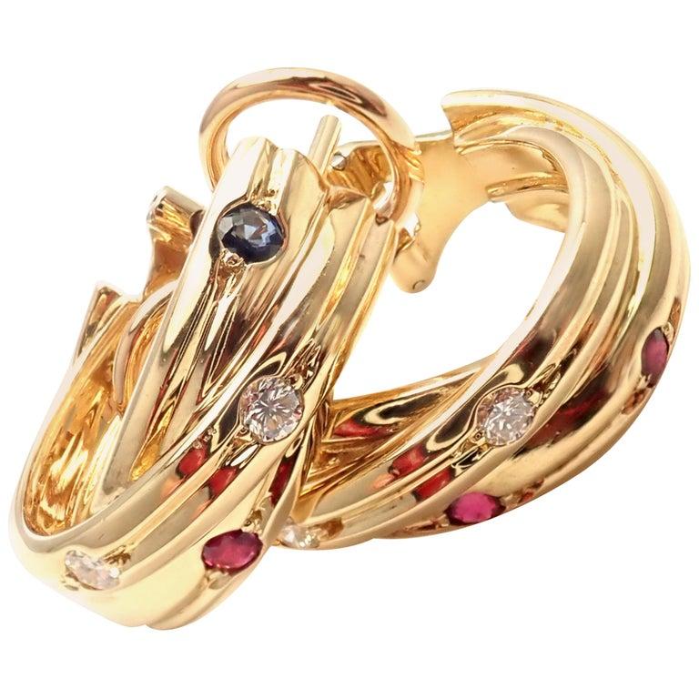 Cartier Diamond Ruby Sapphire Trinity Yellow Gold Hoop Earrings