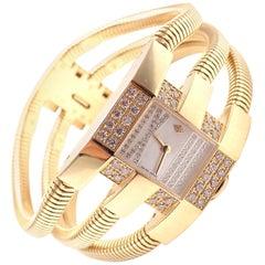 Van Cleef & Arpels Yellow Gold Diamond Triple Bracelet Quartz Wristwatch